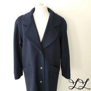 Vintage Luba Paris Coat Dark Blue Wool Buttons